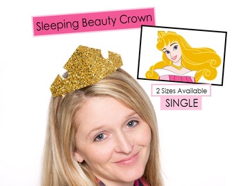 Sleeping Beauty Crown Princess Aurora Chunky Glitter Gold SINGLE Crown