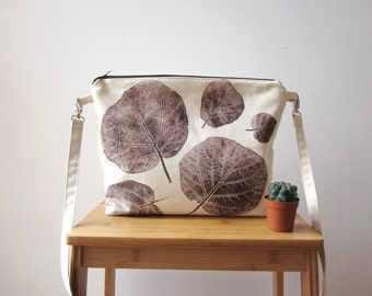 Hand printed canvas bag, Crossbody canvas bag, Cream bag, hand printed bag, brown leaves stamp, Everyday bag
