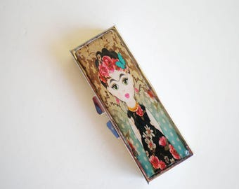 Pill box - Pill container - Mint case - Frida Kahlo -  Art pill box - Gift idea - Vintage pill box - Pill box Frida Kahlo