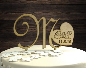 Custom Wood Cake Topper - Rustic Wedding Decor