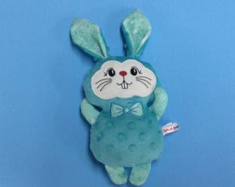 PROMO plush Bunny turquoise minky, cotton and wool felt, Easter gift, gift for girl