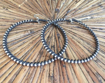 Black hoops - black wire and silver beads - ball chain and wire - Edgy jewelry