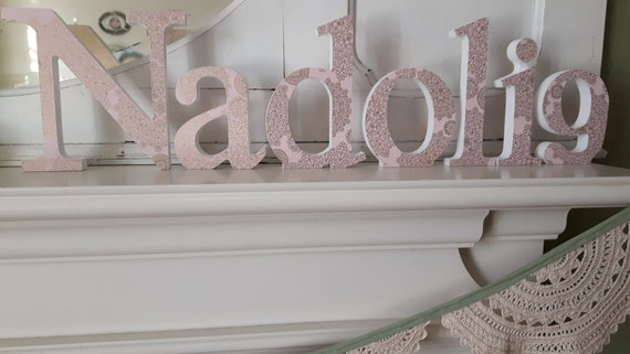 Nadolig Welsh pale pink with gold mandala and gold glitter covered freestanding wooden decoupaged letters. 15cm