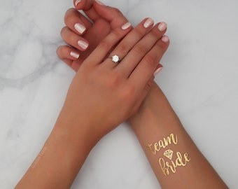 Team Bride Gold Metallic Temporary Tattoo   Bachelorette Party Favor   Bridesmaid Wedding Tattoo   Flash Tattoo   Hen Bridal Party Gift