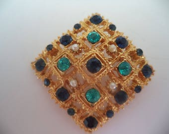 Fabulous Vintage Unsigned Goldtone/Aquamarine Blue/Seed Pearl Pierced Brooch/Pin