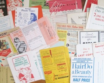 Vintage Magazine Ads Inserts Pull-Out Mail-In Offers for Merchandise & Subscriptions 18 Piece Mixed Lot Vintage Graphics Collage Altered Art