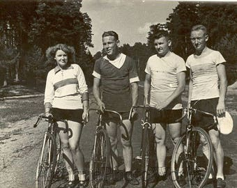 Bicycle riders athletes antique phtoo