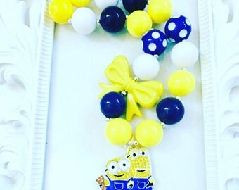 Yellow And Blue Character Chunky Necklace, Girl's Custom Character Chunky Necklace, Kid's Custom Character Jewelry, Character Photo Prop