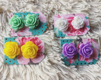 Smell the Roses  Flower Stud Earrings Multicolored
