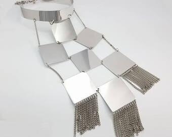 Vintage ORIGINAL BY ROBERT Mod Modernist Silver-Tone Statement Necklace