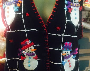 Vintage 80's Tacky Christmas Vest - Multi Snowman W/ Multi Hats & Scarfs - Red Stitch Trimming - Sz Med