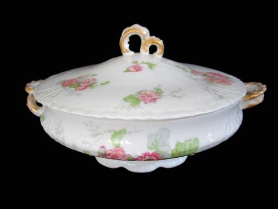 Antique Limoges Serving Dish, Large Round Vegetable, Jean Pouyat, JPL Limoges, Pink Carnations, Pink Floral Limoges Vegetable Dish