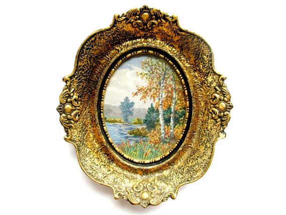 Vintage Wiehler Gobelin Needlepoint, Framed Wiehler Gobelin, Wiehler Br. 1829, Still Ruht Der See, Still Rest of the Lake