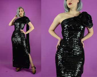 50s Style Black Sequin Wiggle Dress - Formal Evening Gown Prom Full Length 1980s // Xs Small