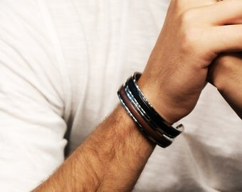 Mens Cuff Bracelet Husband Gift Custom mens leather bracelet Personalized Gift for HIM Boyfriend Gift Cuff Mens Jewelry Steel Cuff Mens Gift
