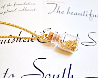 Pretty gold digger necklace, glass bottle necklace, vial necklace,