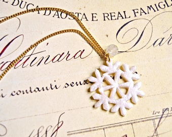 Handmade polymer clay snowflake necklace - snowflake pendant, snowflake necklace, snow queen necklace