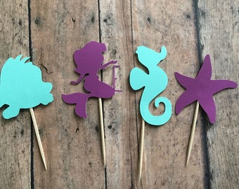Mermaid themed cupcake toppers