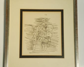 Mid Century Framed Original Ink Pen Line Drawing of Family / One of a Kind!