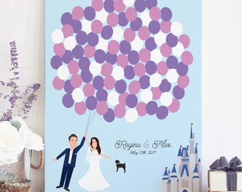 Fairytale Wedding Guest Book Alternative with Balloons and Floating Couple and Castle - The Fairytale by Miss Design Berry