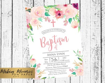 soft Pink Floral Baptism Invitation Pink Watercolor, Pink Roses Baptism, Christening, Dedication ,First Communion. Girl, Holy Communion