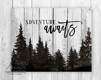 ADVENTURE AWAITS Typography Art Print, Adventure Awaits Sign, Adventure Awaits Quote w Forest Landscape, Adventure Awaits Home Decor