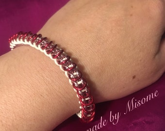 Chainmail bracelet, bright red white and pink Valentines day chain mail bracelet, handmade chainmailel jewelry made by misome