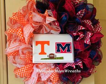 College Football Deco Mesh Rivalry Wreath - Deco Mesh Wreath - College Football Wreath - Rivalry Wreath