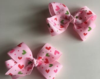 Pink love heart Bow