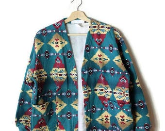 Vintage  Green x Navajo/Tribal inspired pattern Sweatshirt Cardigan from 90's*