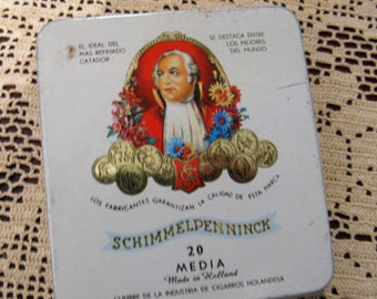 Vintage  Holland Cigar Tin, Schimmelpenninck, Hinged, for Small Cigars