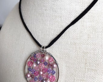 Necklace - Beaded Pendant Pink/Purple NL201706
