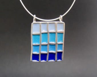 Blue Necklace - Colorblock Necklace - New Century Modern - Blue, Green, and Black Reversible Necklace