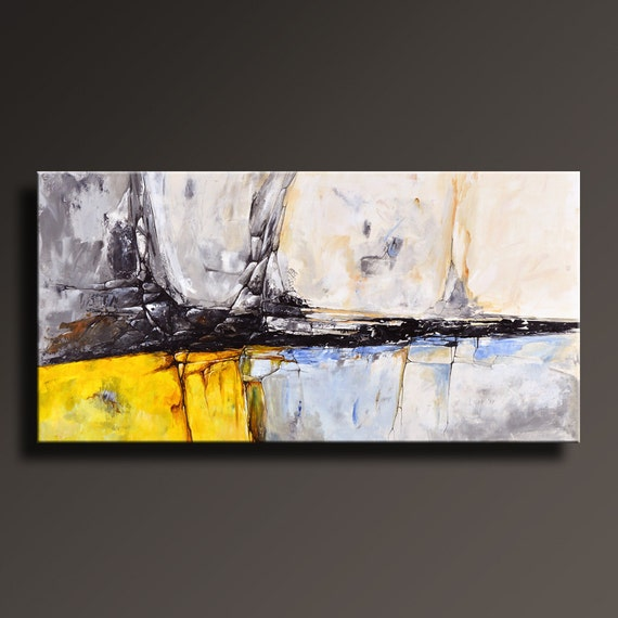 ABSTRACT PAINTING Yellow Gray White Black Blue Painting Yellow Black Abstract Paintings