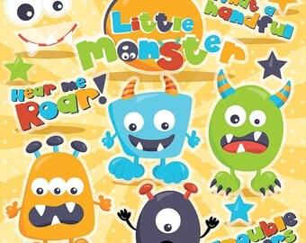 80% OFF SALE Monster clipart commercial use, monsters vector graphics, monster paper dolldigital clip art, digital images - CL977