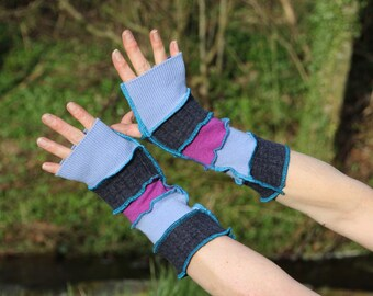 Upcycled Ladies Armwarmers, Wristwarmers, Fingerless Gloves. Handmade in UK from Recycled Wool Knitwear. Purple Blue Ethical fashion OOAK