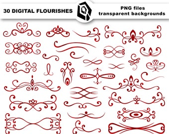 Gold flourish clipart digital swirl clipart divider by OsikOsik