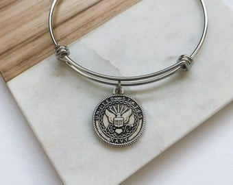 US Navy Charm Bangle Bracelet Gift - Military Anniversary Gifts for Her