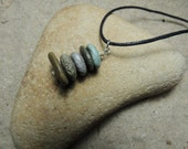 Handmade Natural Surf Tumbled 5 Beach Stone Stacked Cairn Necklace on Cotton Cord With Bamboo Accents