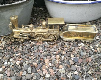 Vintage Brass Steam Train , Brass Steam Locomotive , Vintage Brass Train, Brass W & A.R.R Train, Brass Train and Tender, USA Civil War train