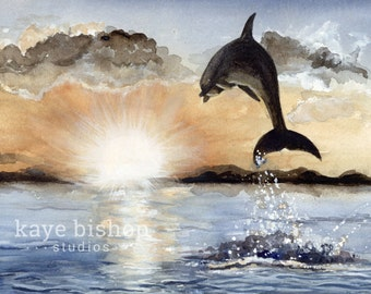 Dolphin Watercolor Painting, Animal Art, Dolphin Painting, Dolphin Watercolor, Dolphon Art, Dolphin Decor, Dolphin Print, Dolphin Sunset Art