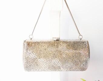 Beaded Evening Bag, Silver Evening Bag, Silver Beaded Bag, Vintage Evening Bag, Vintage Beaded Bag, Petite Bag, Wedding Bridal EB-0368