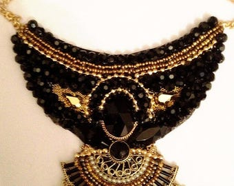 Elgant necklace , black and gold cristal beads - gold plated chain   Hand made