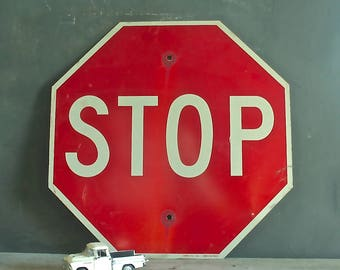 Vintage Metal Stop Sign, Road Sign, Industrial, Collectible Stop Sign