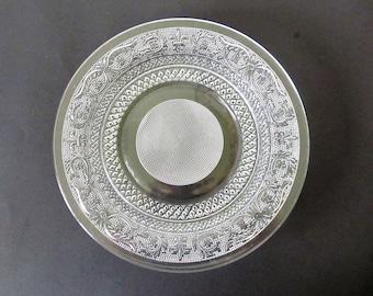 Four KIG Malaysia Pressed Glass Dinner Plates, Fleur de Lis Pattern