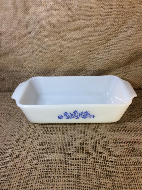 Vintage Fire King white milk glass loaf pan, Anchor Hocking Fire King, blue cornflower design, vintage kitchen, Made in the USA, vintage pan