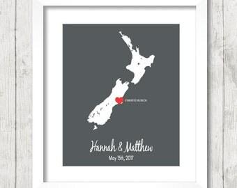 New Zealand Love Map - Christchurch, New Zealand - Destination Wedding - Kiwi's - Wedding, Engagement & Anniversary Gift - Newlyweds