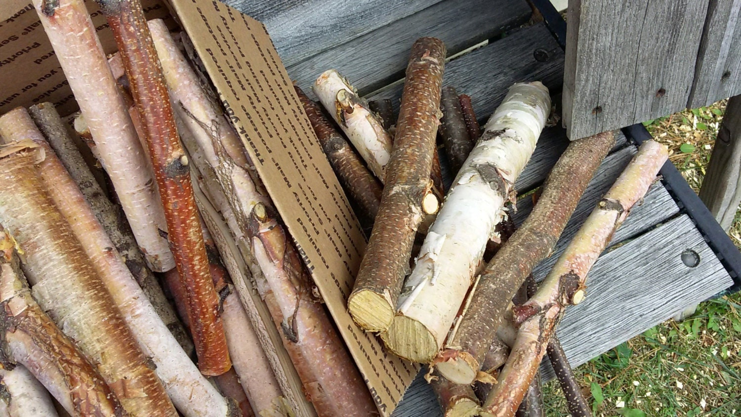 White Birch Logs 40 Mixed Size Logs Fireplace Mantle Decor