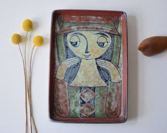 Rare! Marianne Starck for Michael Andersen & Son - dish / wall tile - Girl - Persia glaze - Danish mid century collectible