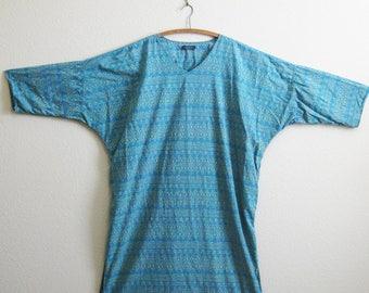 Blue Sari Caftan J PETERMAN Indian Shirt Dress Plus Size Resort Dress XL